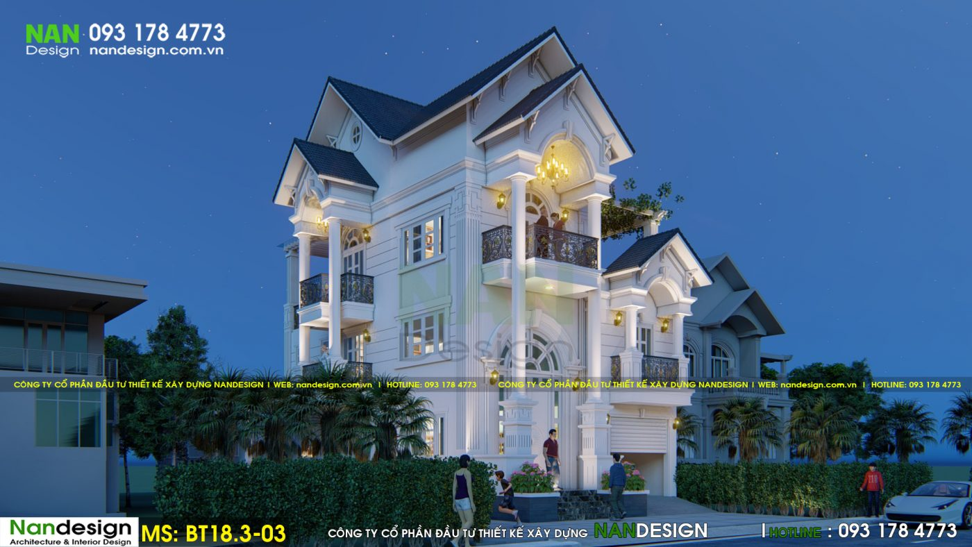 Cảnh sắc về đêm của mẫu thiết kế biệt thự 3 tầng 7x12m