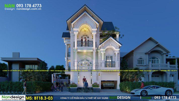 Thiết kế biệt thự 3 tầng bán cổ điển