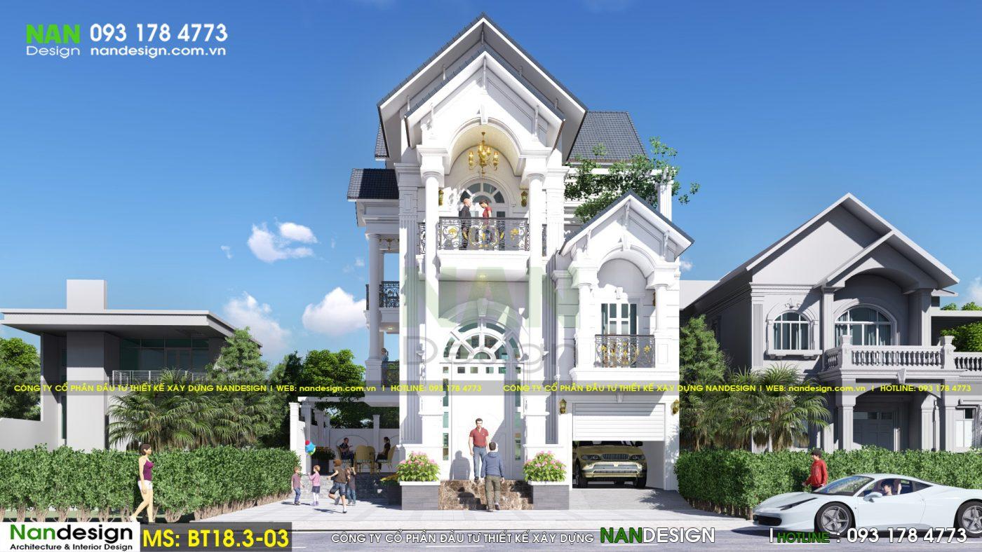 Phối cảnh mặt tiền - Thiết kế biệt thự 3 tầng bán cổ điển