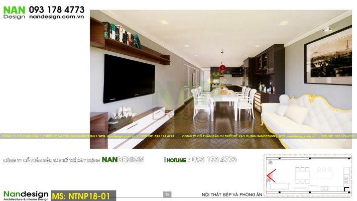 Phối cảnh 3D thiết kế nội thất phòng khách và phòng ăn, bếp
