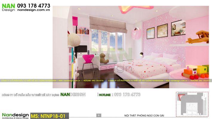 Phối cảnh 3D thiết kế nội thất phòng ngủ bé gái