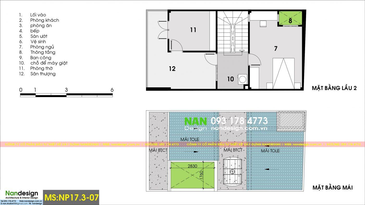 Mặt bằng tầng 2 và mái - Thiết kế nhà phố 6x10m 3 tầng hiện đại