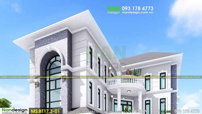 Nhìn ngắm căn biệt thự từ phía bên hông của căn nhà. Nét nổi bật nằm ở các đường nét kết hợp với các cửa sổ bằng kính tô điểm thêm cho sự tráng lệ.