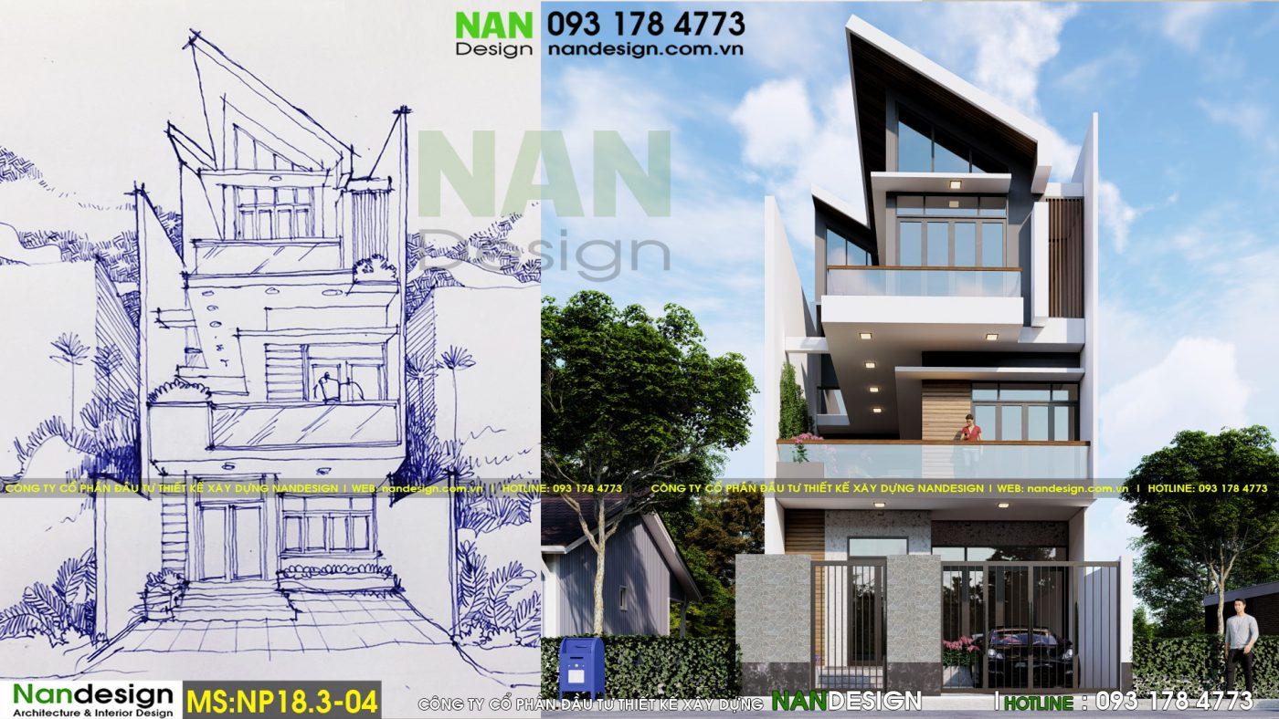 Thiết kế nhà phố 3 tầng 7x12m NP18.3-04