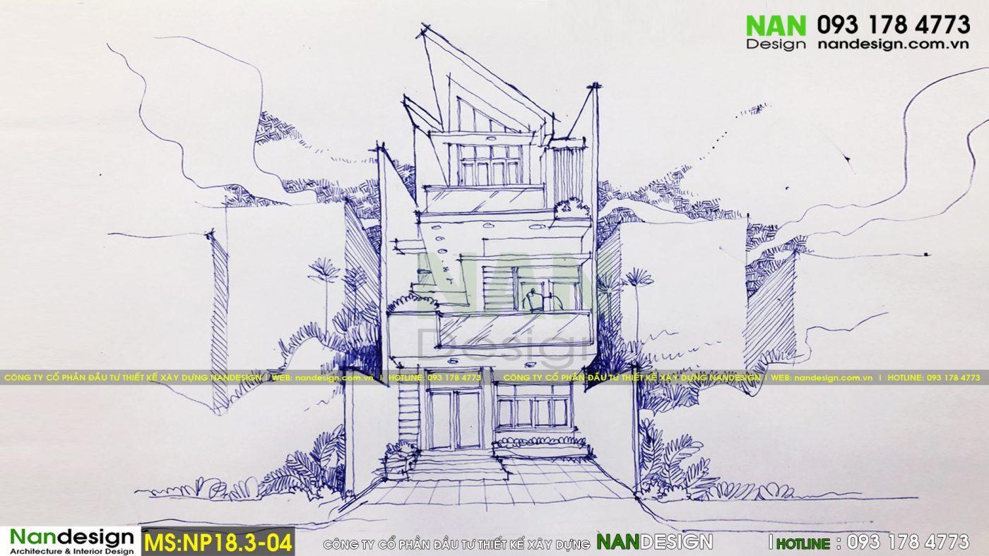 Phát thảo phương án thiết kế nhà phố 3 tầng 7x12m hiện đại