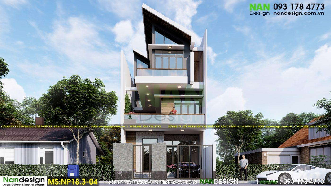 Phối cảnh mặt đứng thiết kế nhà phố 3 tầng 7x12m