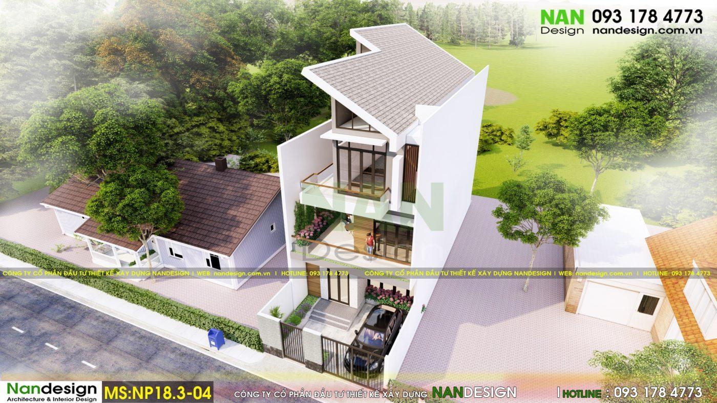 Phối cảnh tổng thể 3D mẫu nhà phố 3 tầng
