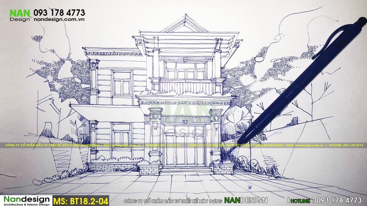 Sơ phát phương án kiến trúc mặt tiền - Thiết kế biệt thự 2 tầng tân cổ điển