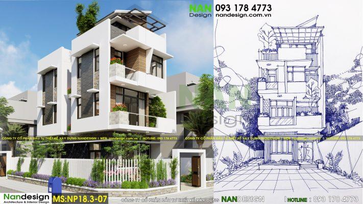 Phát thảo và Phối cảnh - Thiết kế nhà phố 2 mặt tiền 7x20m hiện đại