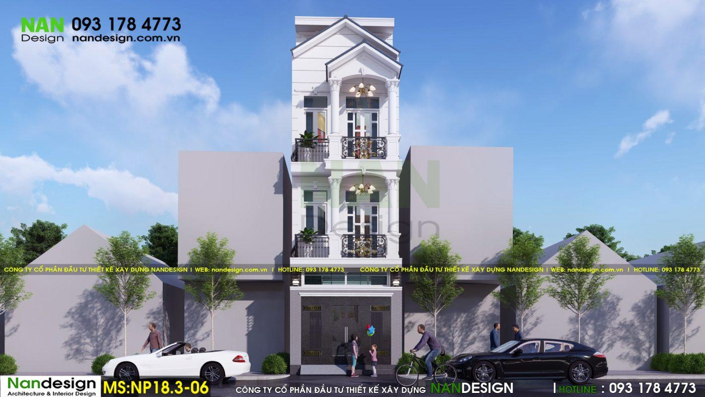 Phối cảnh mặt đứng - Thiết kế nhà phố 3 tầng 4x15m