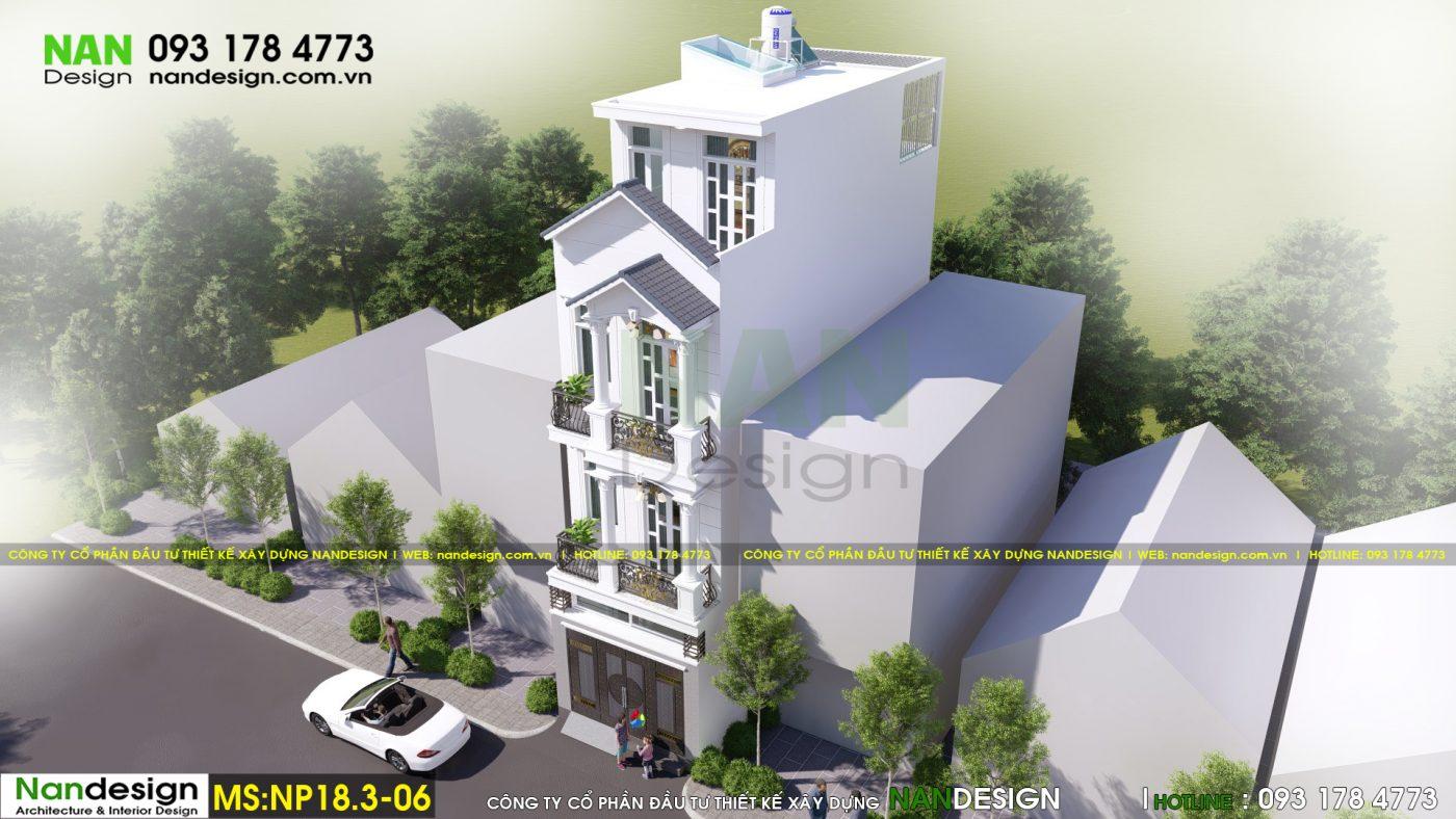 Phối cảnh 3D tổng thể - Thiết kế nhà phố 3 tầng tân cổ điển 4x15m