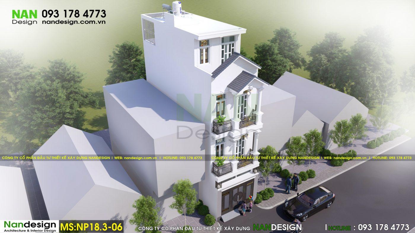 Phối cảnh 3D tổng thể - Thiết kế nhà phố 3 tầng đẹp 4x15m tân cổ điển