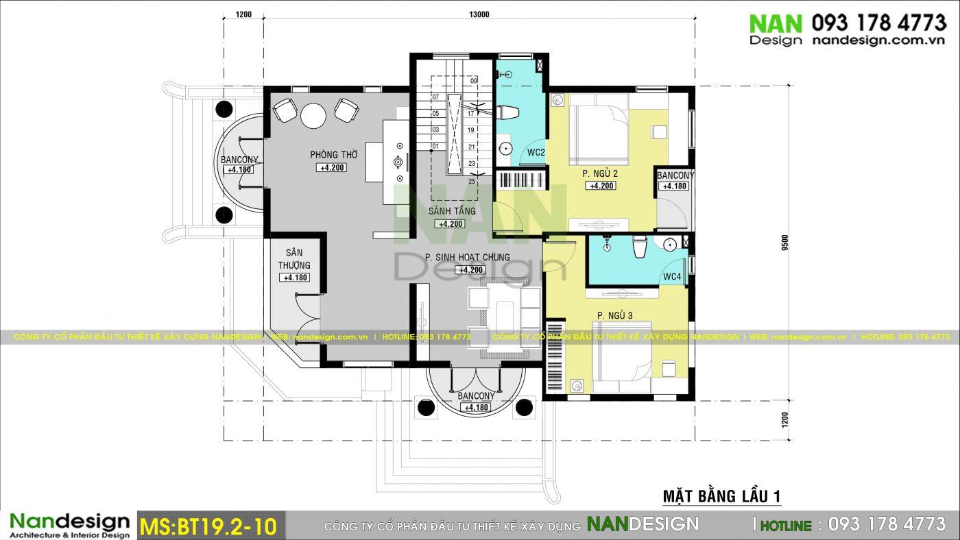 Thiết kế biệt thự 2 tầng tân cổ điển