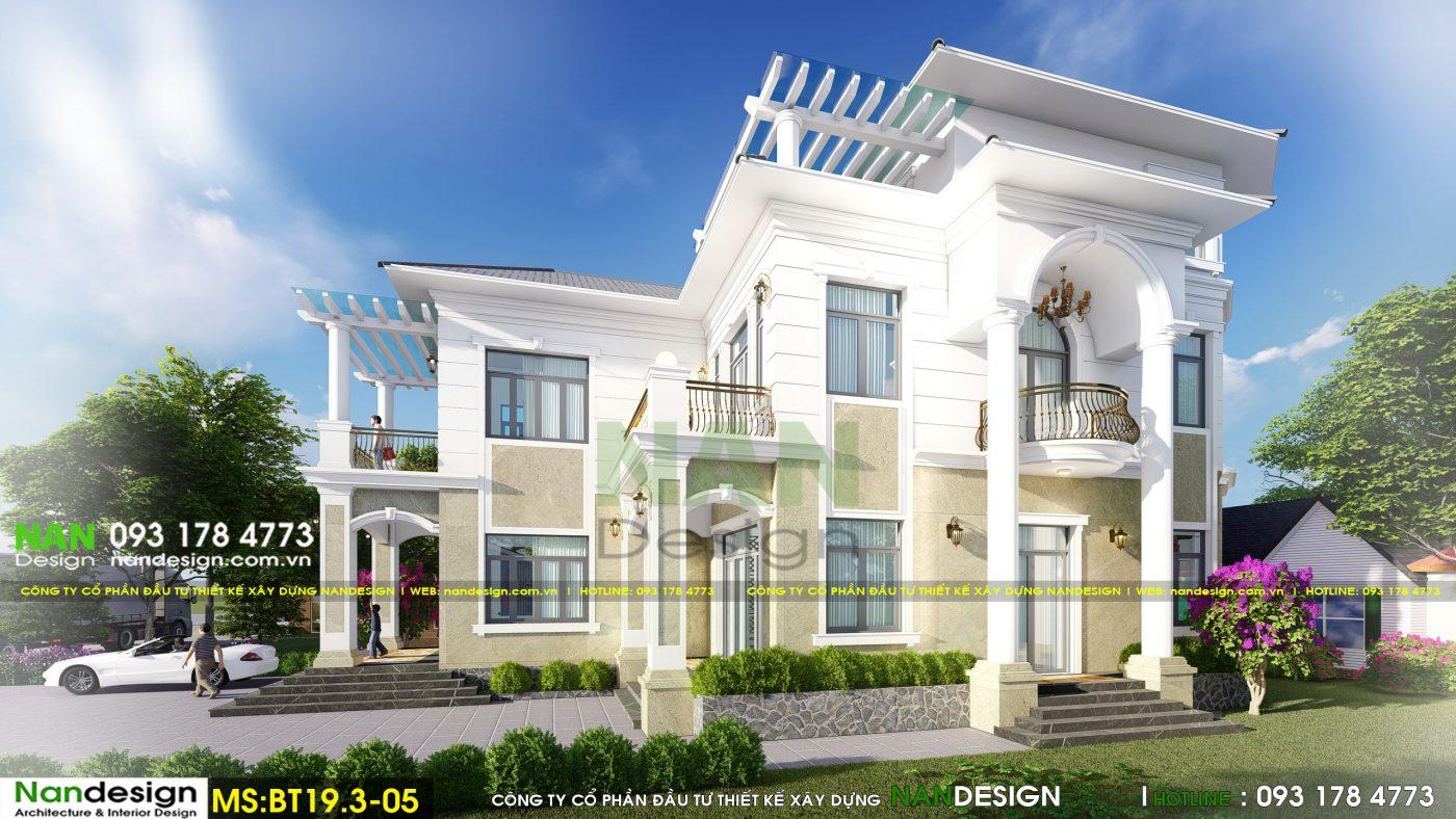 Phối Cảnh 3D Mẫu Biệt Thự Bán Cổ Điển 2 Tầng Đẹp Tráng Lệ