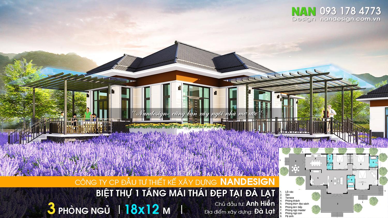 Thiết Kế Biệt Thự 1 Tầng Mái Thái Đẹp Tại Đà Lạt Nandesign