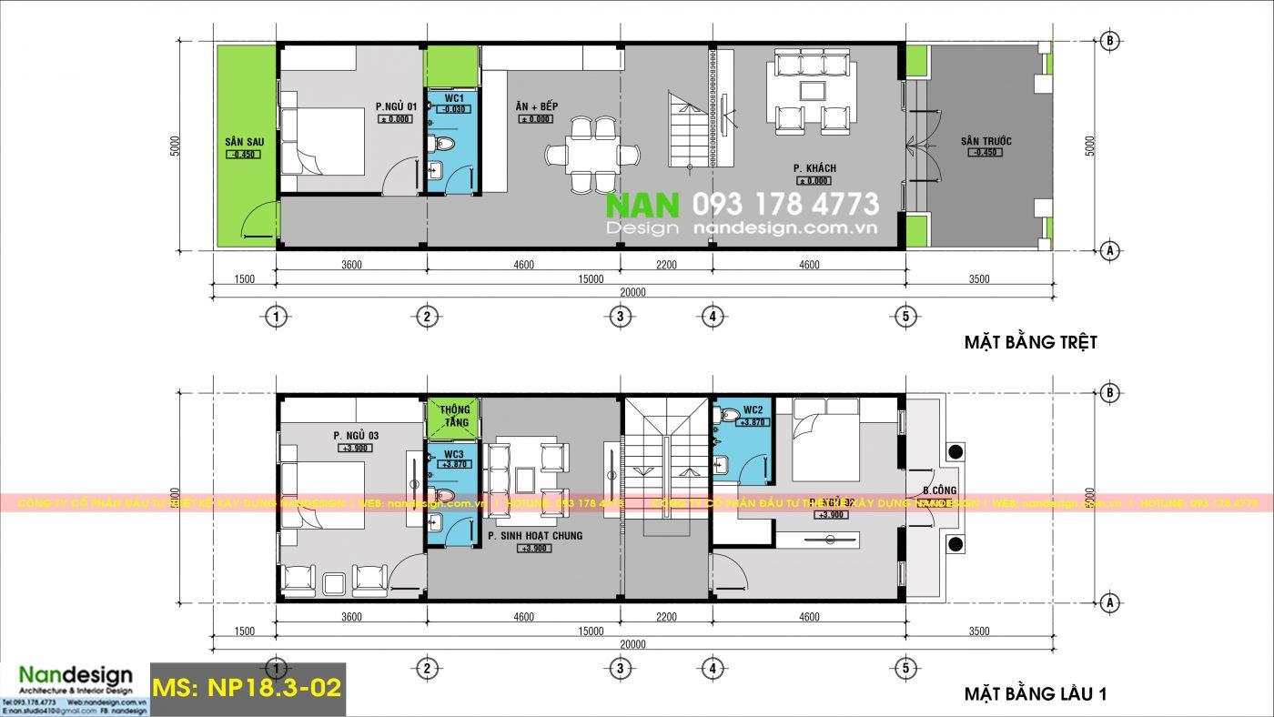Bản Vẽ Mặt Bằng Trệt Và Lầu 1 Thiết Kế Nhà 3 Tầng 5x20 Tân Cổ Điển