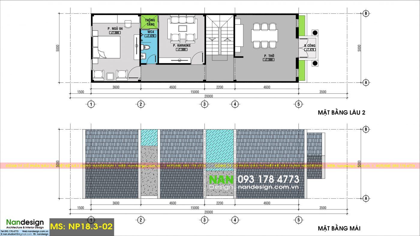 Bản Vẽ Mặt Bằng Lầu 2 Và Mái Thiết Kế Nhà 3 Tầng 5x20 Tân Cổ Điển