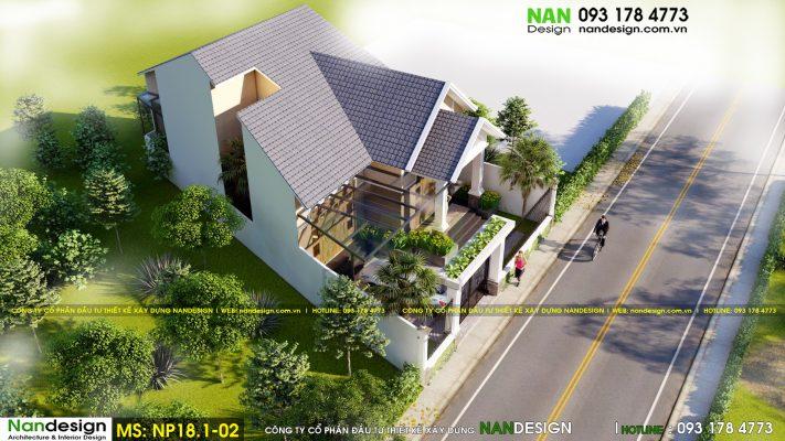 Thiết kế 3d mẫu nhà cấp 4 mái thái 12x20m có hình khối và đường nét hài hòa