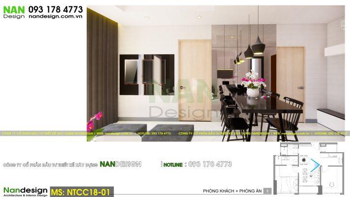 Phối cảnh 3D thiết kế nội thất phòng khách và phòng ăn