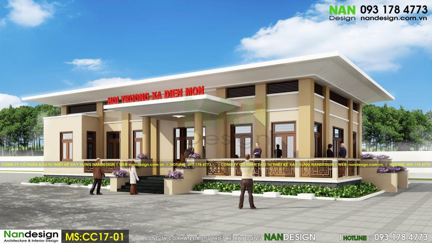Phối cảnh 3D - Thiết kế hội trường xã Điền Môn