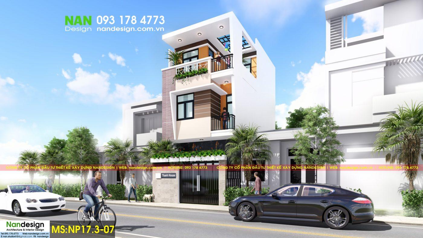 Phối cảnh 3D mặt bên - Thiết kế nhà phố 3 tầng hiện đại 6x10m