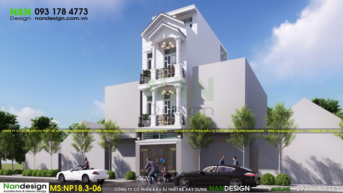 Phối cảnh mặt bên - Thiết kế nhà phố 4x15m 3 tầng