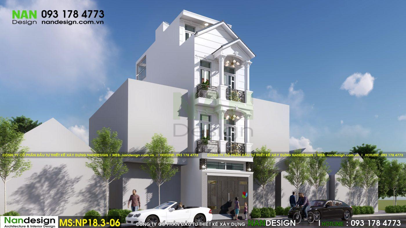 Phối cảnh mặt bên - Thiết kế nhà phố 4x15m 3 tầng tân cổ điển