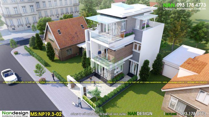 Phối cảnh tổng thể 3D mẫu nhà phố 7x15m hiện đại