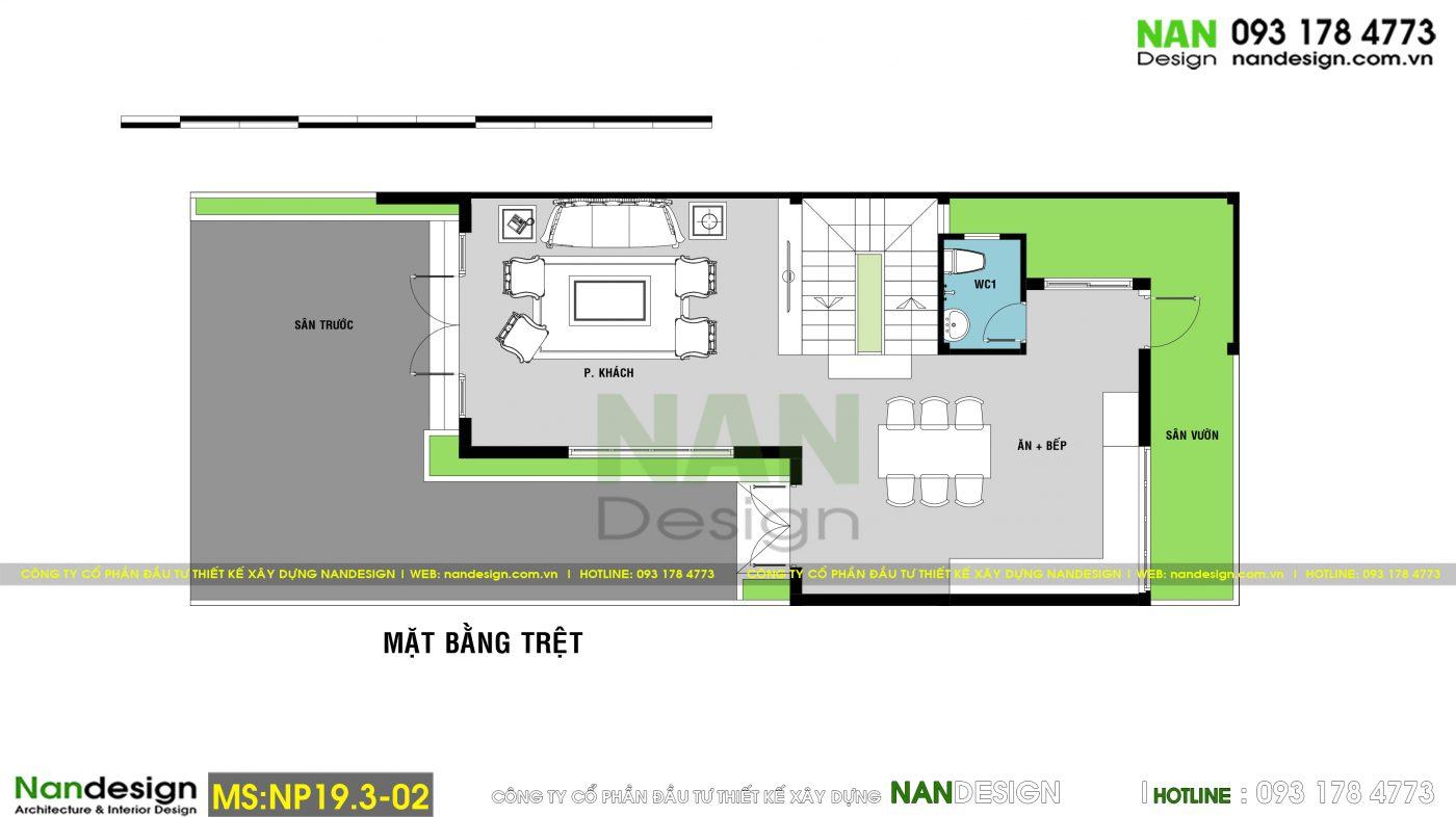 Bản Vẽ Mặt Bằng Tầng Trệt Mẫu Nhà Phố 3 Tầng 7x15m Có Gara