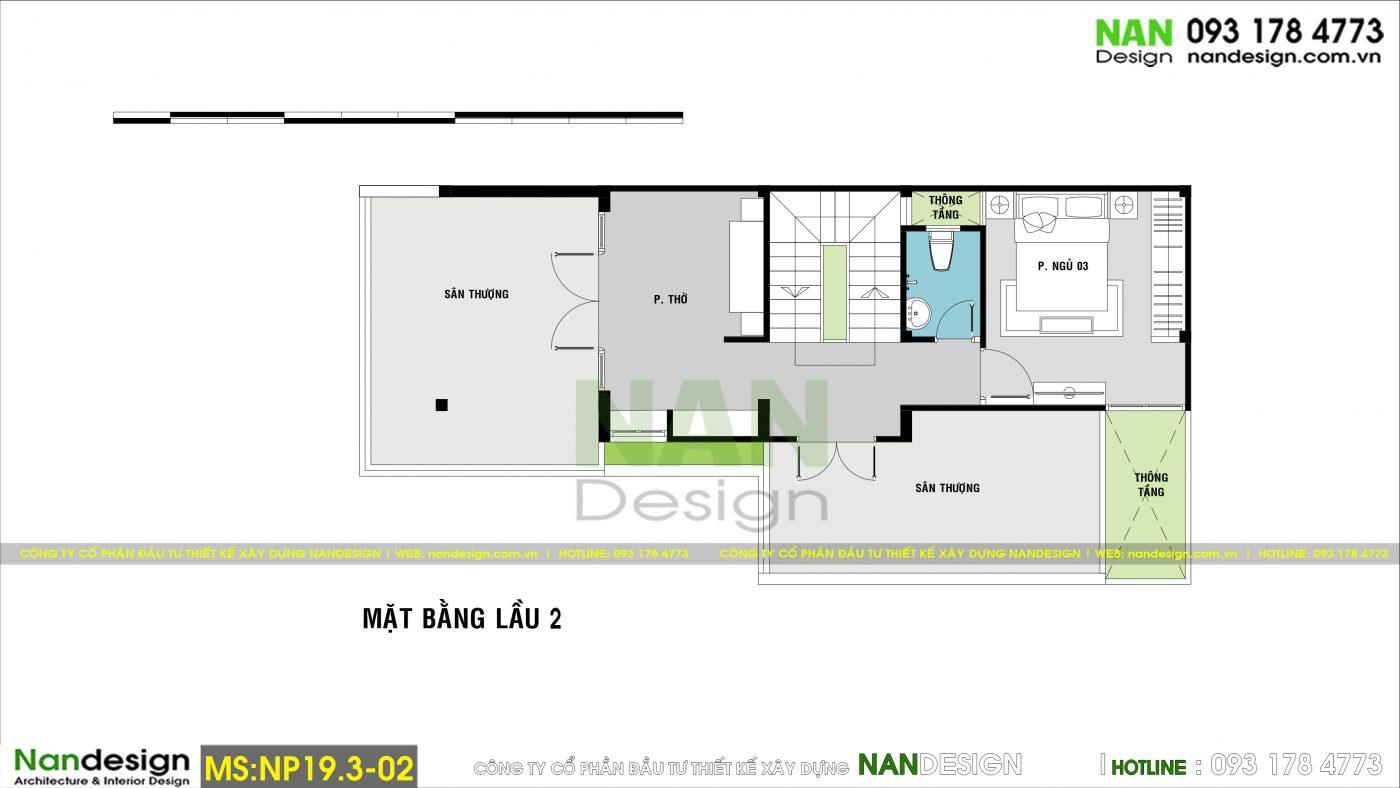 Bản Vẽ Mặt Bằng Lầu 2 Mẫu Nhà Phố 3 Tầng 7x15m