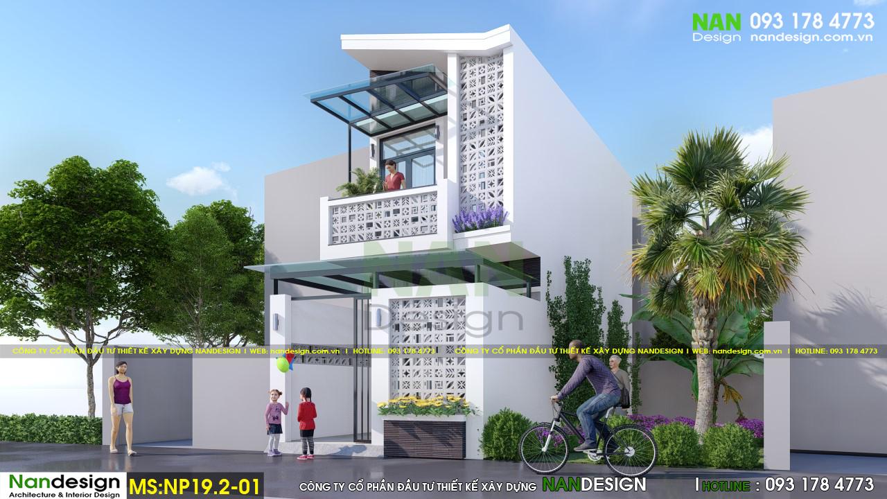 Thiết kế nhà 2 tầng 30m2 sử dụng vật liệu chính là gạch thông gió, vừa tạo tính thẩm mỹ cao cho ngôi nhà cũng như có giá thành xây dựng rẻ dễ thi công