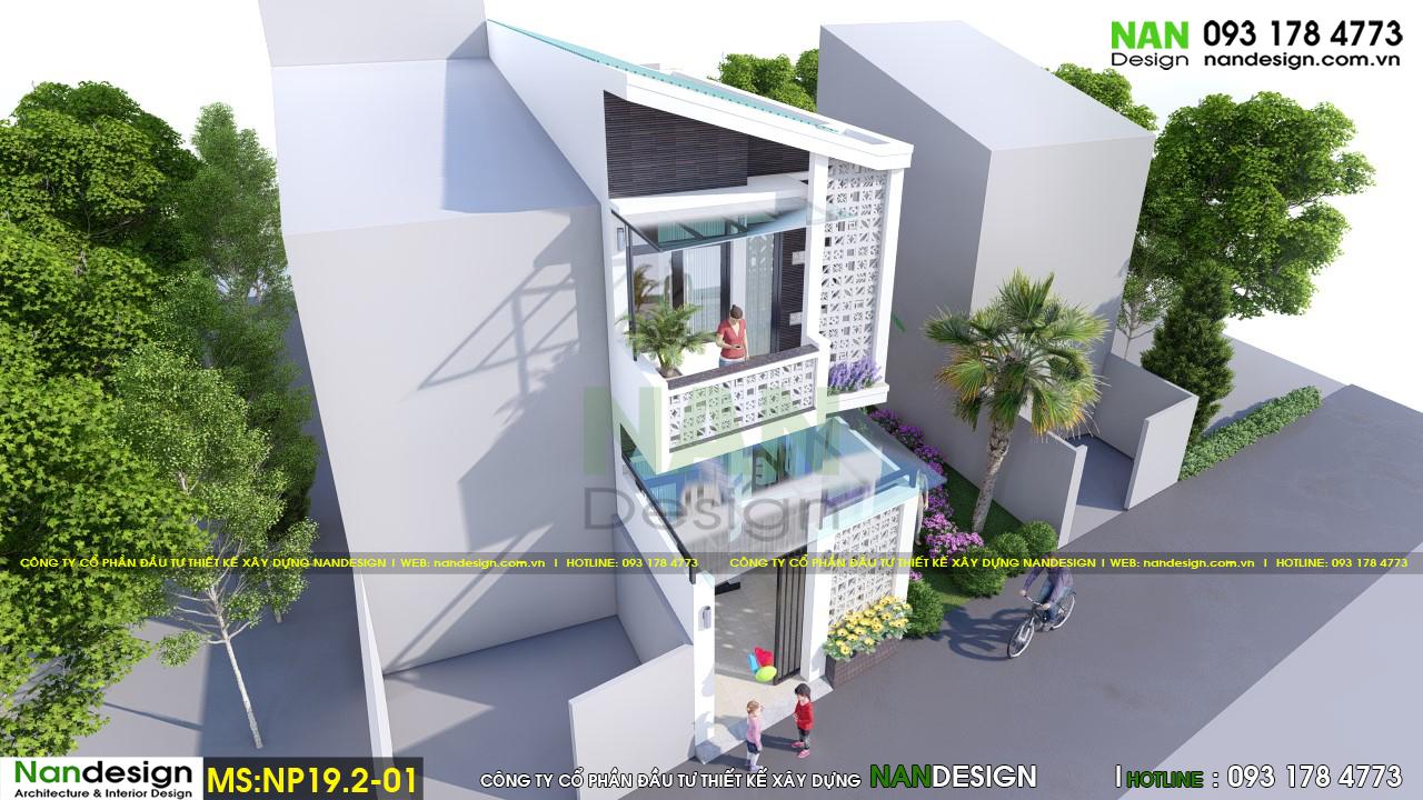 Phối cảnh 3d tổng thể nhà 2 tầng đẹp thiết kế độc đáo