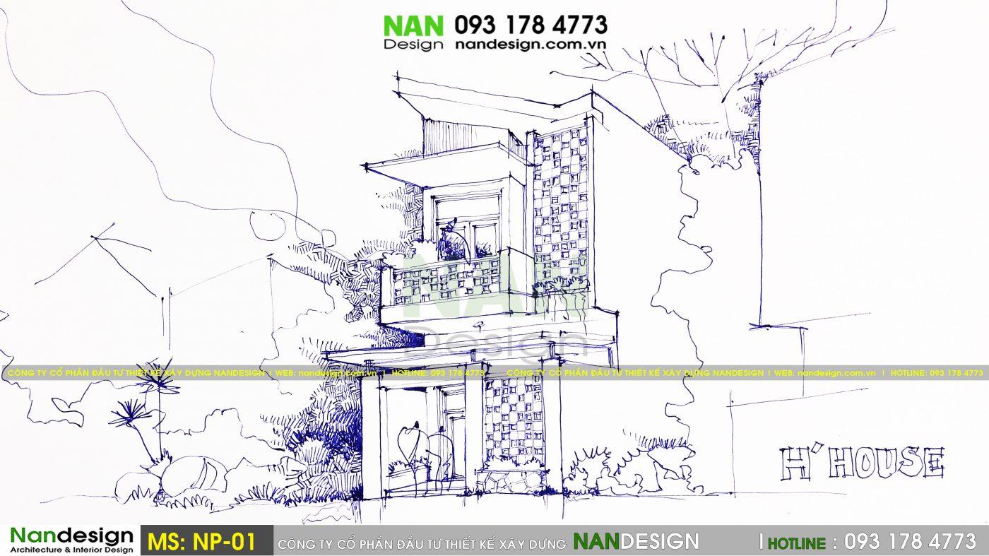 Sơ phát vẽ tay thiết kế ý tưởng mẫu thiết kế nhà 30m2 2 tầng