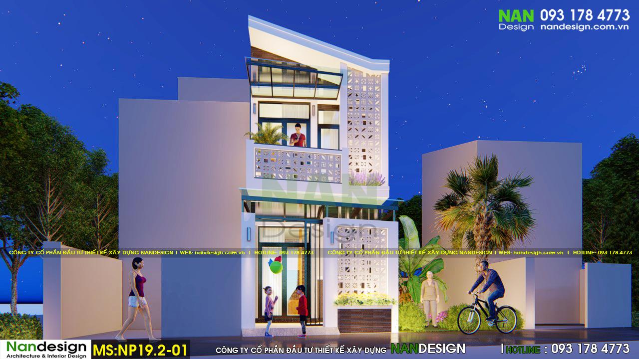 Mãu thiết kế mặt tiền 4m nhà 2 tầng 30m2 đẹp lung linh về đêm