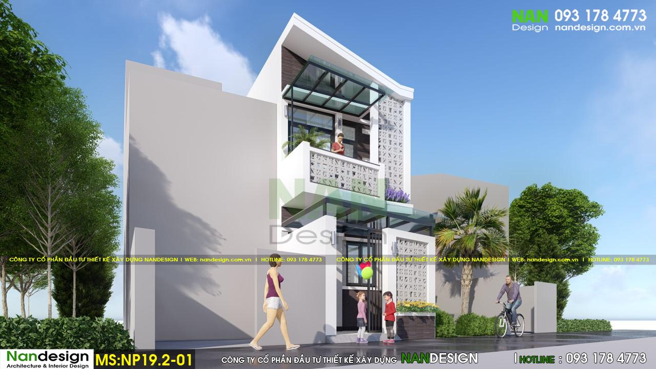 Phối cảnh 3d mặt bên thiết kế mẫu nhà phố 2 tầng đẹp