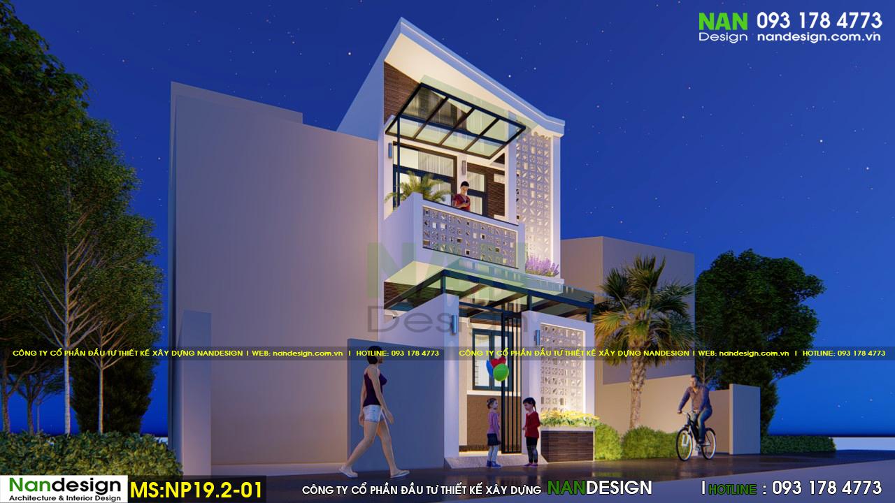 Phối cảnh 3d mặt bên thiết kế nhà lúc về đêm
