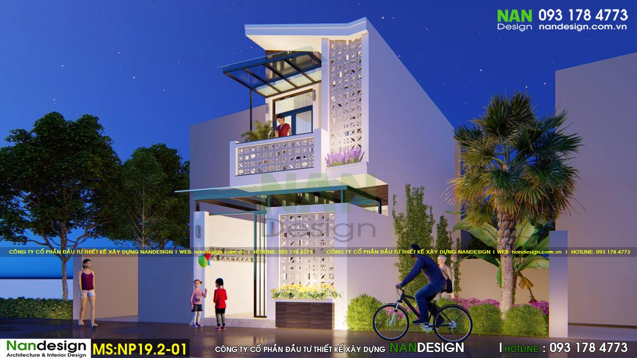 HIệu ứng ánh sáng xuyên qua các mảng tường gạch thông gió của ngôi nhà nhỏ 30m2 2 tầng đẹp lung linh làm cho người nhìn thêm xao xuyến