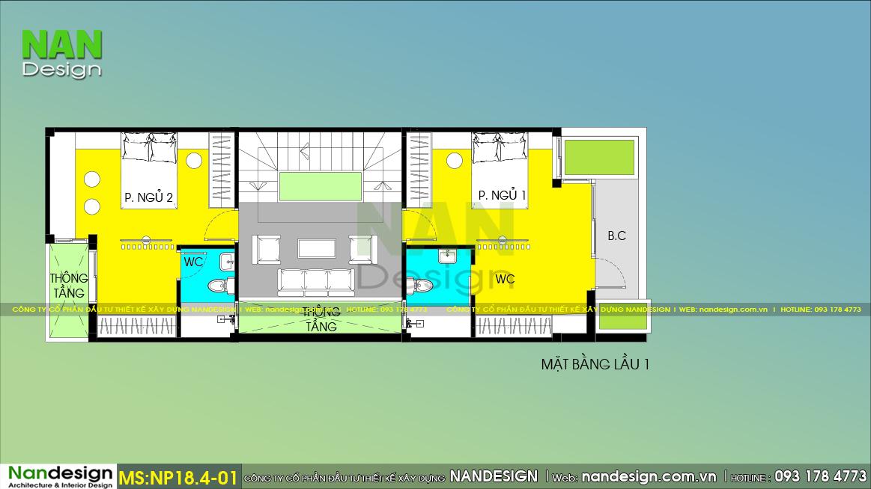 Bản vẽ bố trí thiết kế nội thất Lầu 1 mẫu nhà 4 tầng