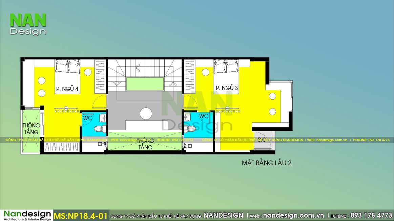 Bản vẽ bố trí thiết kế nội thất Lầu 2 mẫu nhà 4 tầng