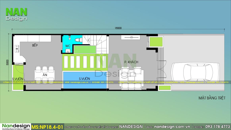 Bản vẽ bố trí thiết kế nội thất tầng trệt mẫu nhà 4 tầng
