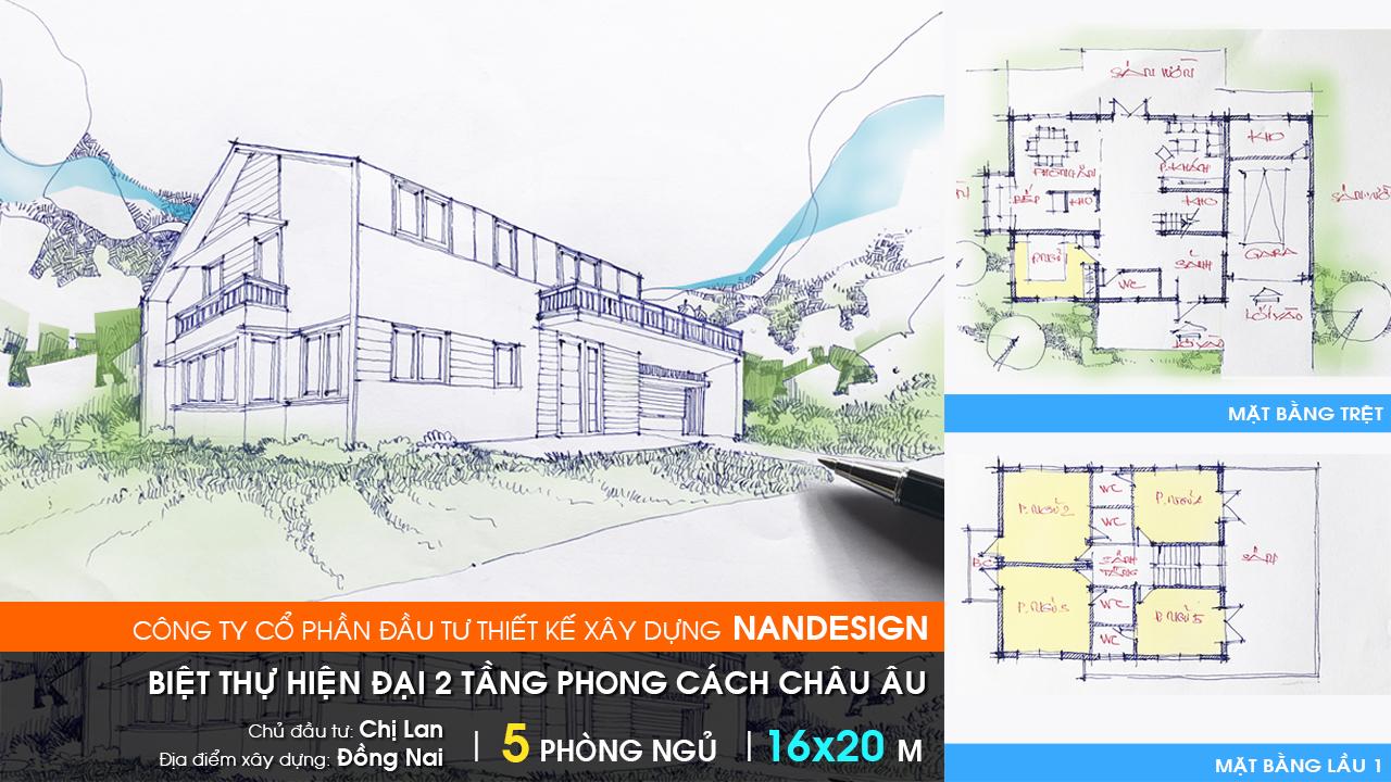 Thiết Kế Biệt Thự Hiện Đại 2 Tầng Nandesign