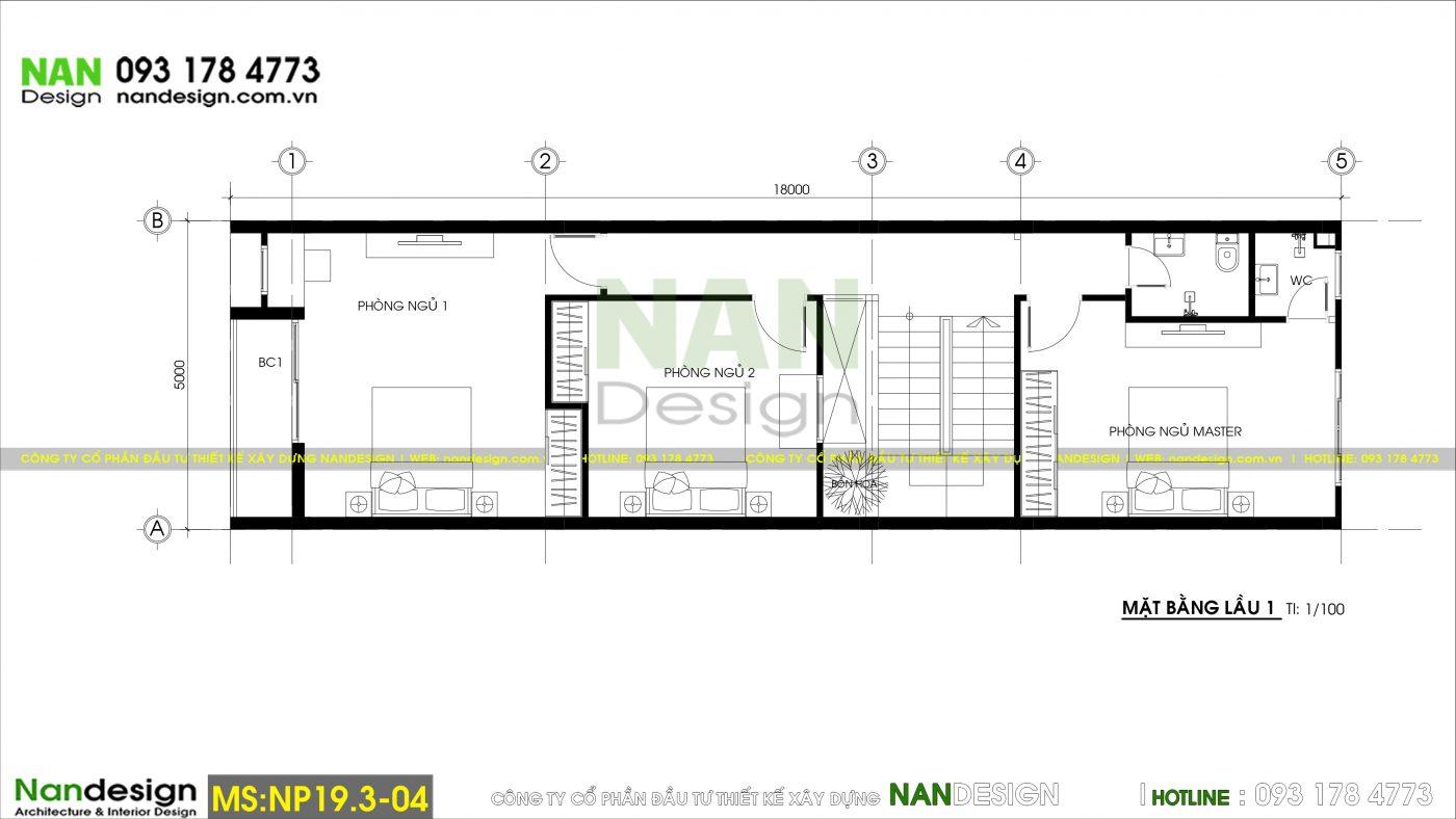 Bản Vẽ Mặt Bằng Lầu 1 Thiết Kế Nhà 3 Tầng 5x18m