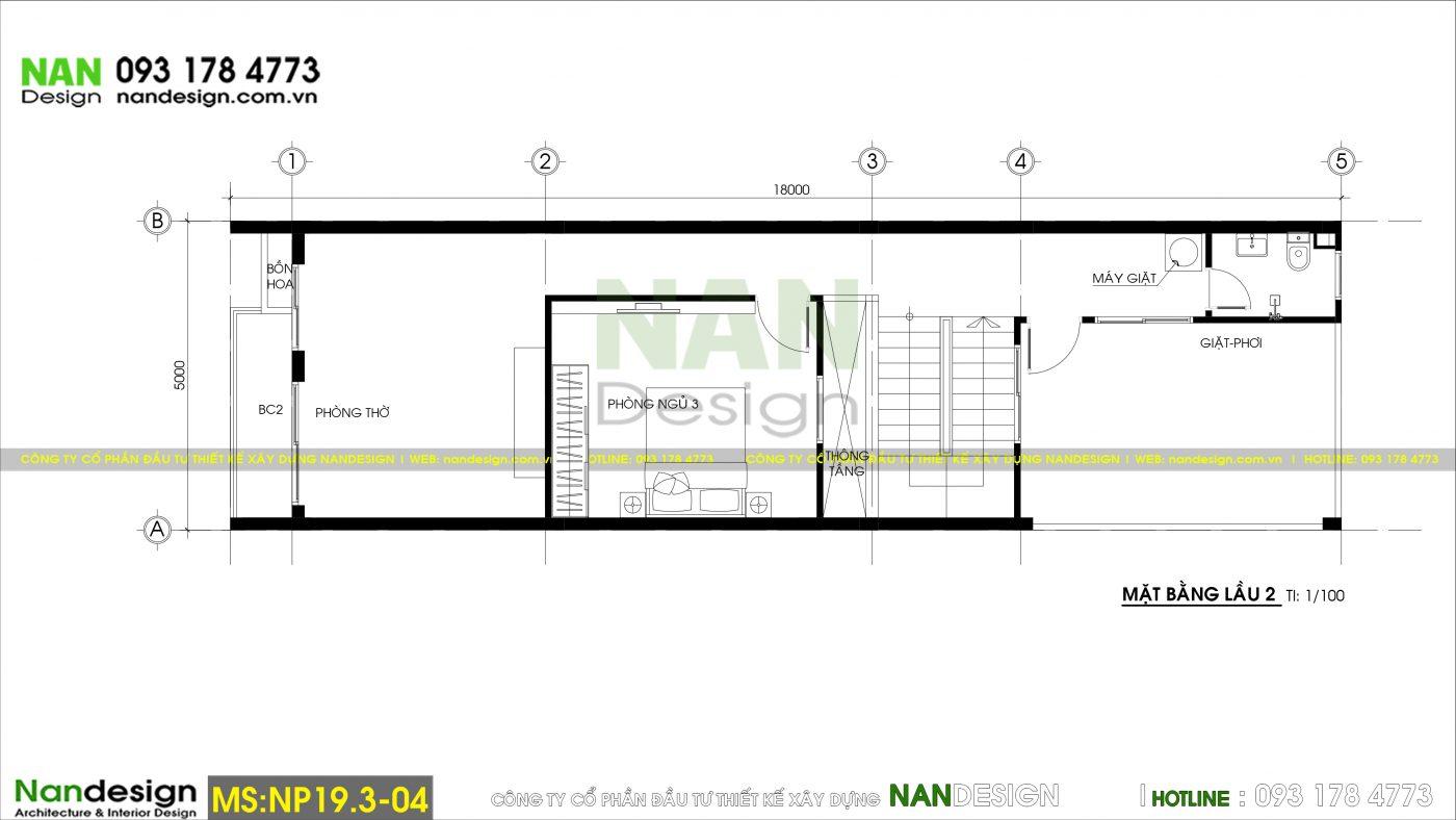 Bản Vẽ Mặt Bằng Lầu 2 Thiết Kế Nhà 3 Tầng 5x18m