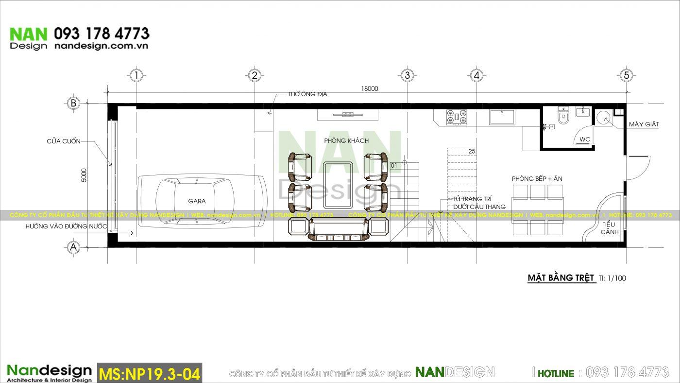 Bản Vẽ Mặt Bằng Trệt Thiết Kế Nhà 3 Tầng 5x18m