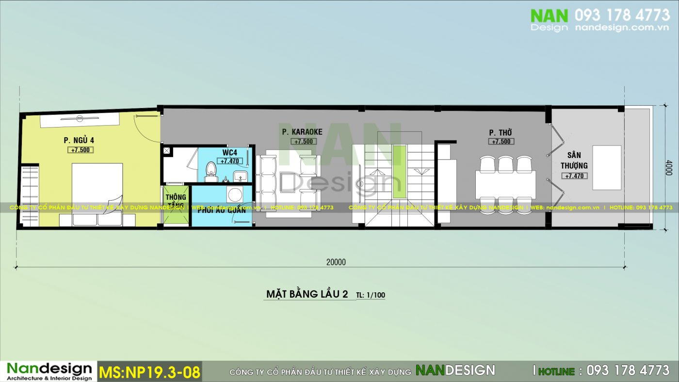 Mẫu Nhà Phố 3 Tầng 4x20m Hiện Đại Độc Đáo