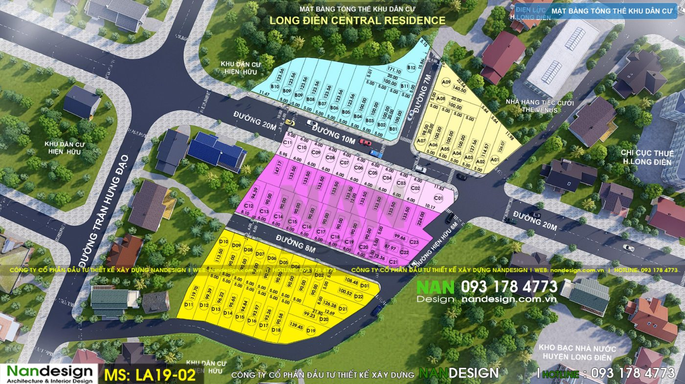Thiết Kế Mặt Bằng Phân Lô Đất Nền Của Dự Án Long Điền Central Residence