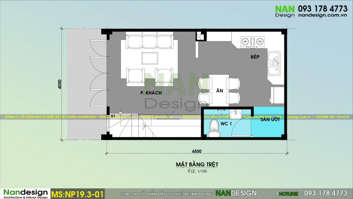 Mẫu Thiết Kế Nhà Phố 1 Trệt 1 Lửng 1 Lầu Đẹp Hiện Đại- Nandesign