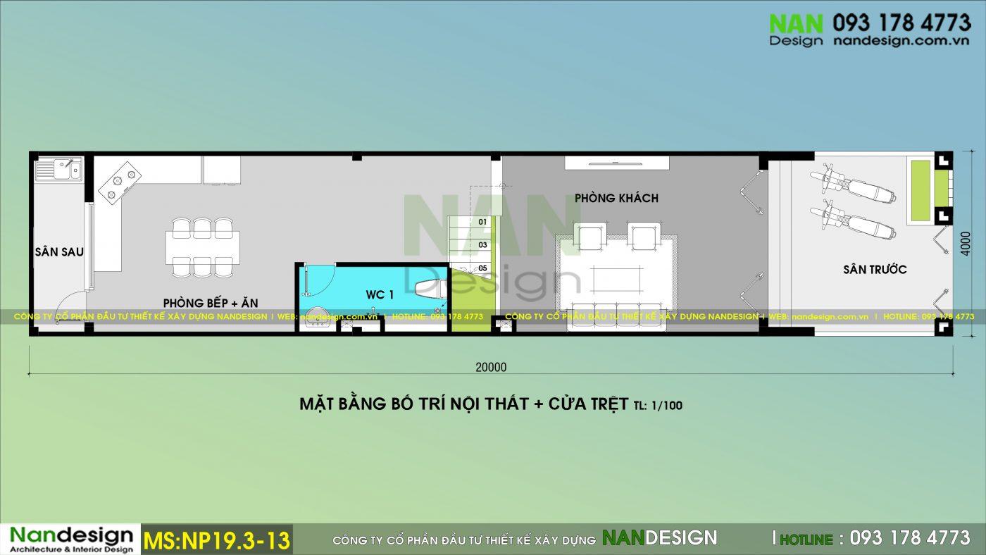 Bản Vẽ Mặt Bằng Trệt Nhà Phố 3 Tầng 4x20m Thiết kế Phong Cách Trẻ Trung Hiện Đại