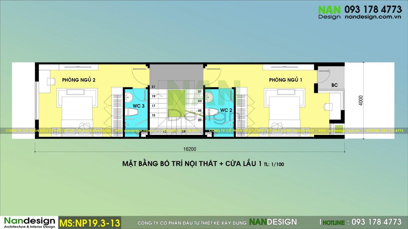 Bản Vẽ Mặt Bằng Lầu 1 Nhà Phố 3 Tầng 4x20m Thiết kế Phong Cách Trẻ Trung Hiện Đại