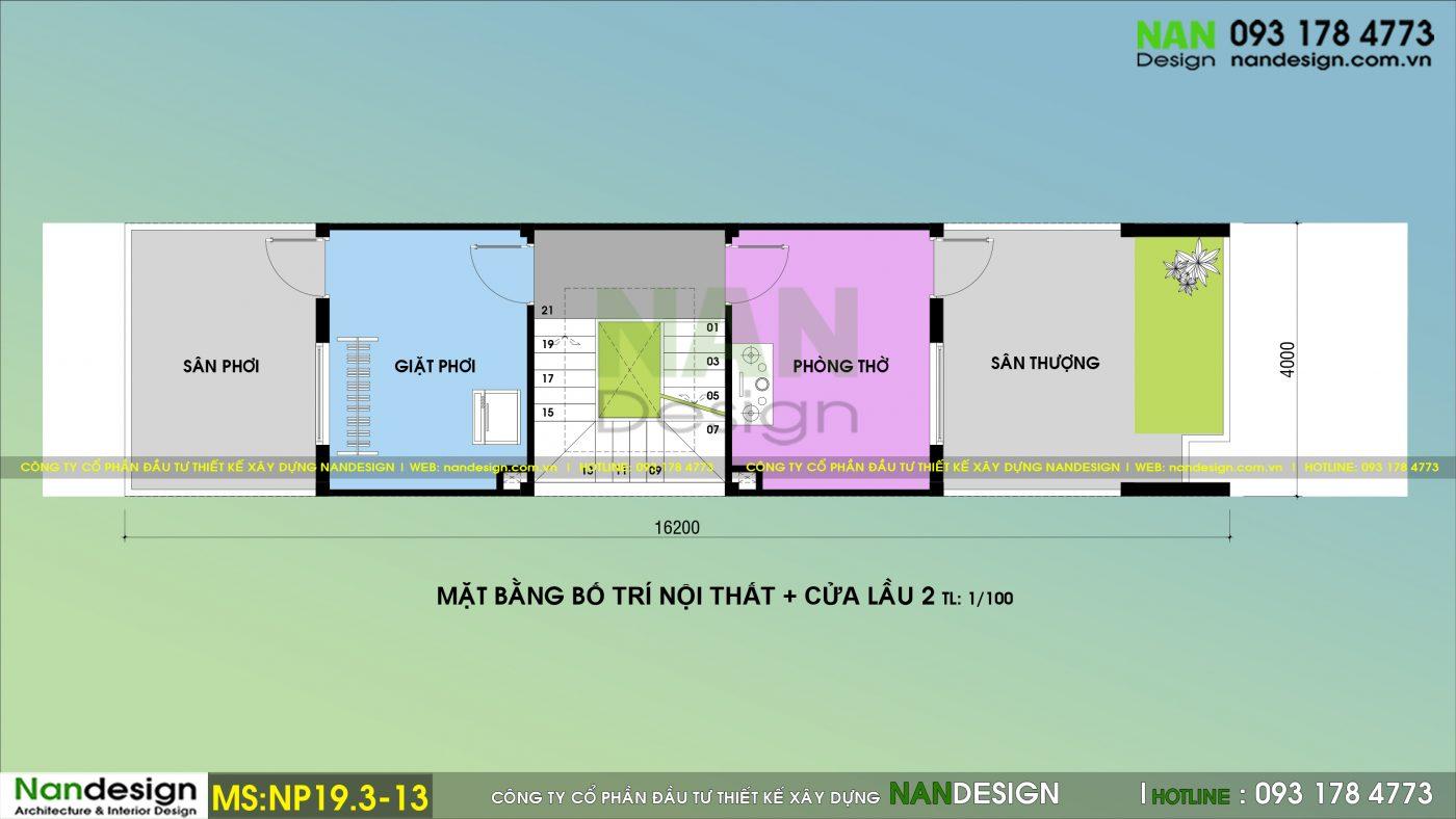 Bản Vẽ Mặt Bằng Lầu 2 Nhà Phố 3 Tầng 4x20m Thiết kế Phong Cách Trẻ Trung Hiện Đại